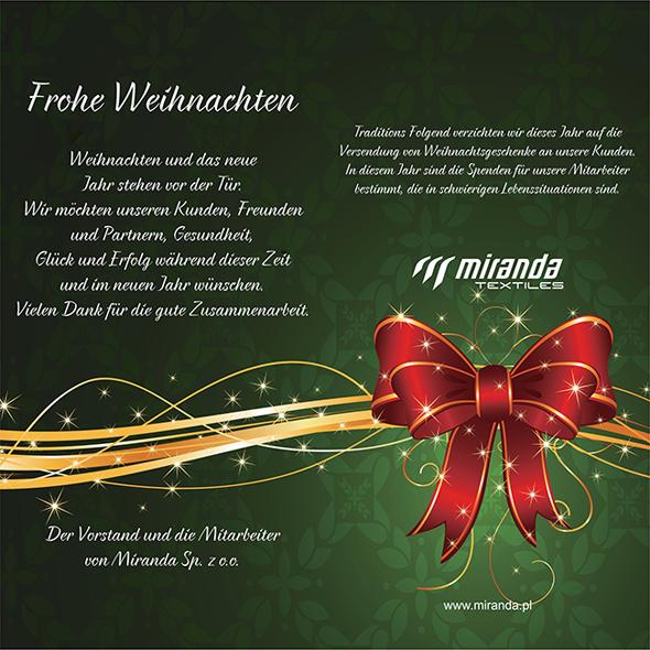 Vor Weihnachtswünsche.Weihnachtswünsche Miranda Textiles